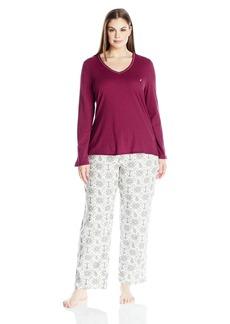 Nautica Women's Plus Size Flannel Pajama Set with Knit Top