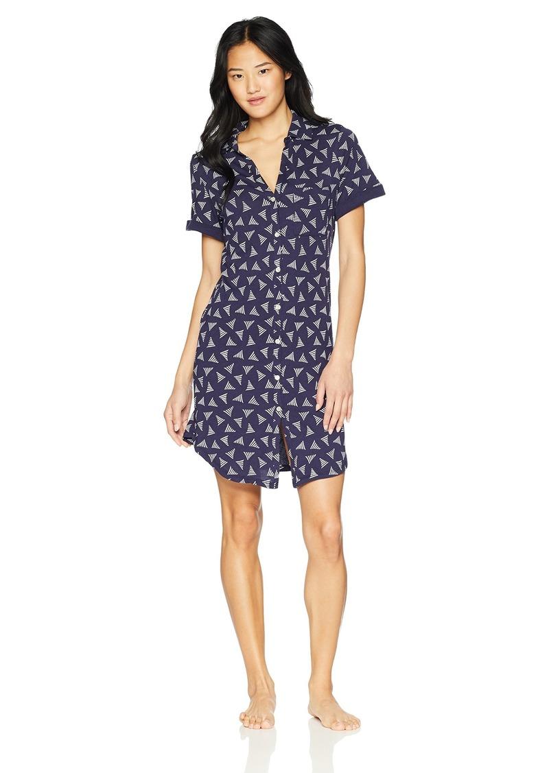 Nautica Women's Printed Jersey Short Sleeve Sleepshirt  L