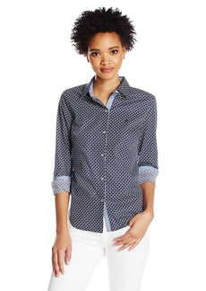 Nautica Women's Printed Stretch Long Shirt With Chambray Trim Sleeve