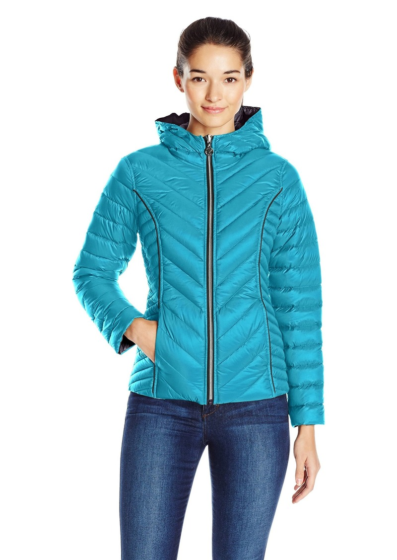Nautica Women's Reversible Light Down Jacket With Hood  XS