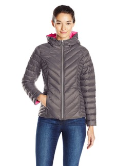 Nautica Women's Reversible Light Down Jacket with Hood  XS