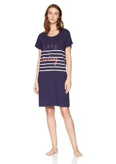Nautica Women's Sailing Graphic Sleepshirt T Eclipse L