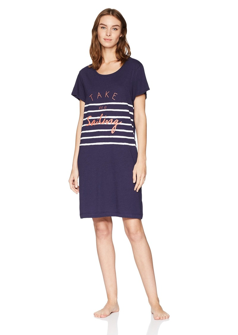 Nautica Women's Sailing Graphic Sleepshirt T Eclipse L