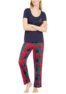 Nautica Women's Scoop Neck Top & Matching Plaid Pajama Pants, Online Only