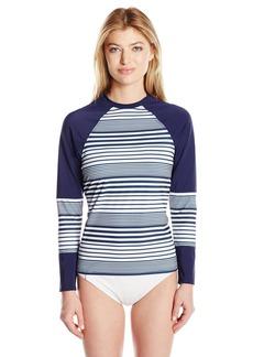 Nautica Women's Seabrook Stripe Long Sleeve Colorblock Rashguard  XS