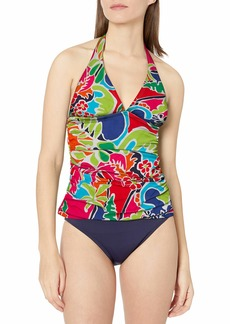 Nautica Women's Shirred Front V Neck Halter Tankini Top Swimsuit
