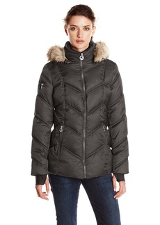 Nautica Women's Short Puffer Coat with Faur Fur Trim Hood