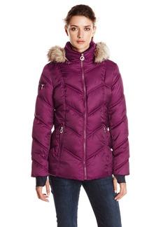 Nautica Women's Short Puffer Coat with Faur Fur Trim Hood