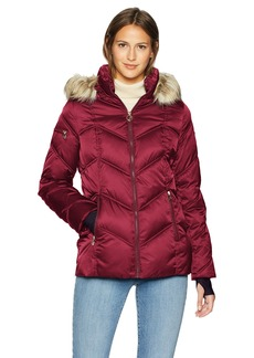 Nautica Women's Short Puffer Coat with Faux Fur Trim Hood  Extra Large