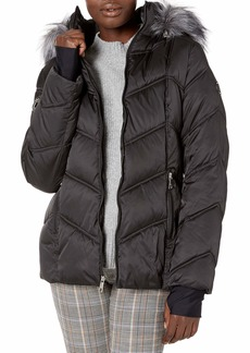 Nautica Women's Midweight Puffer Jacket with Faux Fur Trim  Extra Small