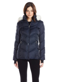Nautica Women's Short Puffer Coat with Faux Fur Trim Hood  arge