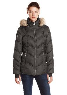 Nautica Women's Short Puffer Coat with Faux Fur Trim Hood  edium