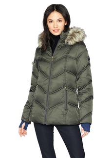 Nautica Women's Short Puffer Coat with Faux Fur Trim Hood  Extra Large