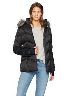 Nautica Women's Short Puffer Coat with Faux Fur Trim Hood  Extra Small