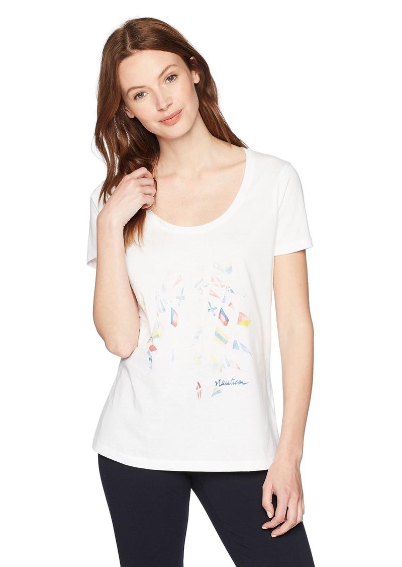 Nautica Women's Short Sleeve Graphic T-Shirt Bright White VZ
