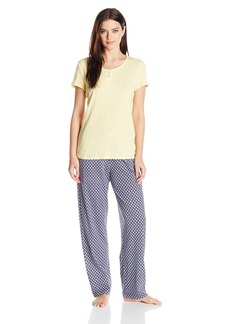 Nautica Women's Short Sleeve Jersey Knit Pajama Set  XS