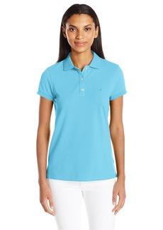 Nautica Women's Short Sleeve Stretch Solid Polo Shirt