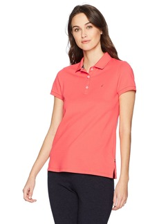 Nautica Women's Short Sleeve Stretch Solid Polo Shirt
