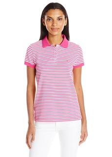 Nautica Women's Short Sleeve Stretch Stripe Polo Shirt
