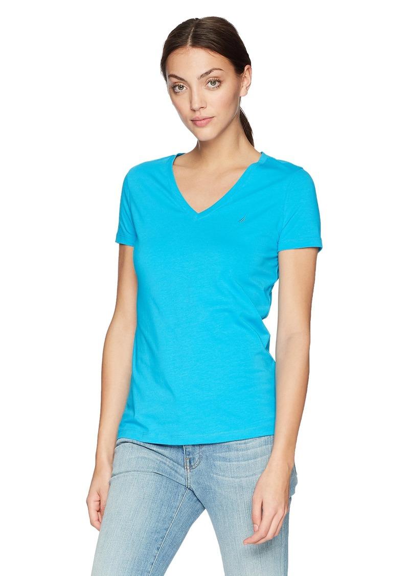 Nautica Women's Short Sleeve Stretch V Neck Solid T-Shirt Bright Blue jig