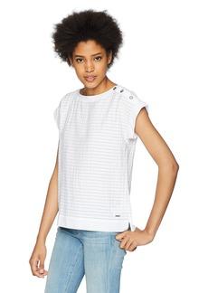 Nautica Women's Short Sleeve Striped Shoulder Button Top