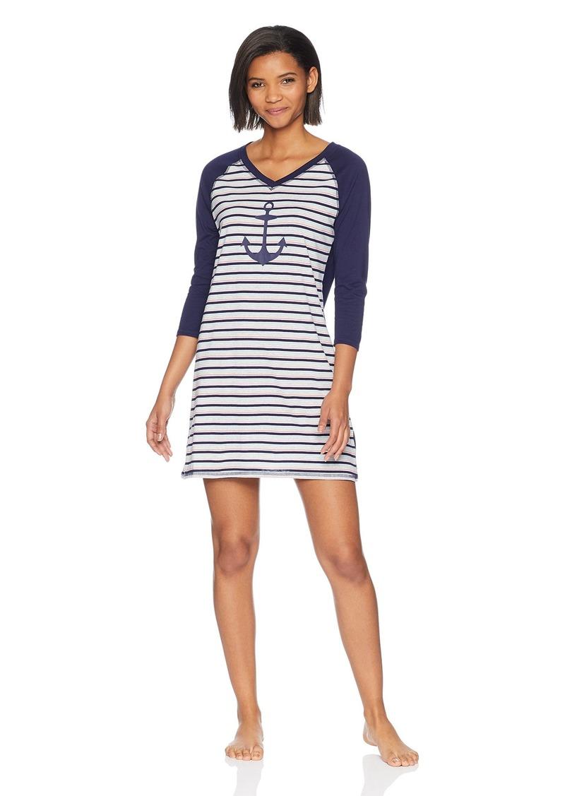 Nautica Women's Sleepshirt pop Stripe Evening Blue Anchor XL