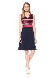 Nautica Women's Sleeveles V-Neck Striped Dress