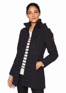 Nautica Women's Stretch Midweight Puffer Hooded Jacket