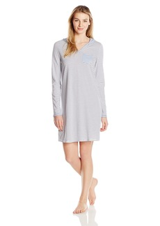 Nautica Women's Striped Hooded Sleepshirt  L