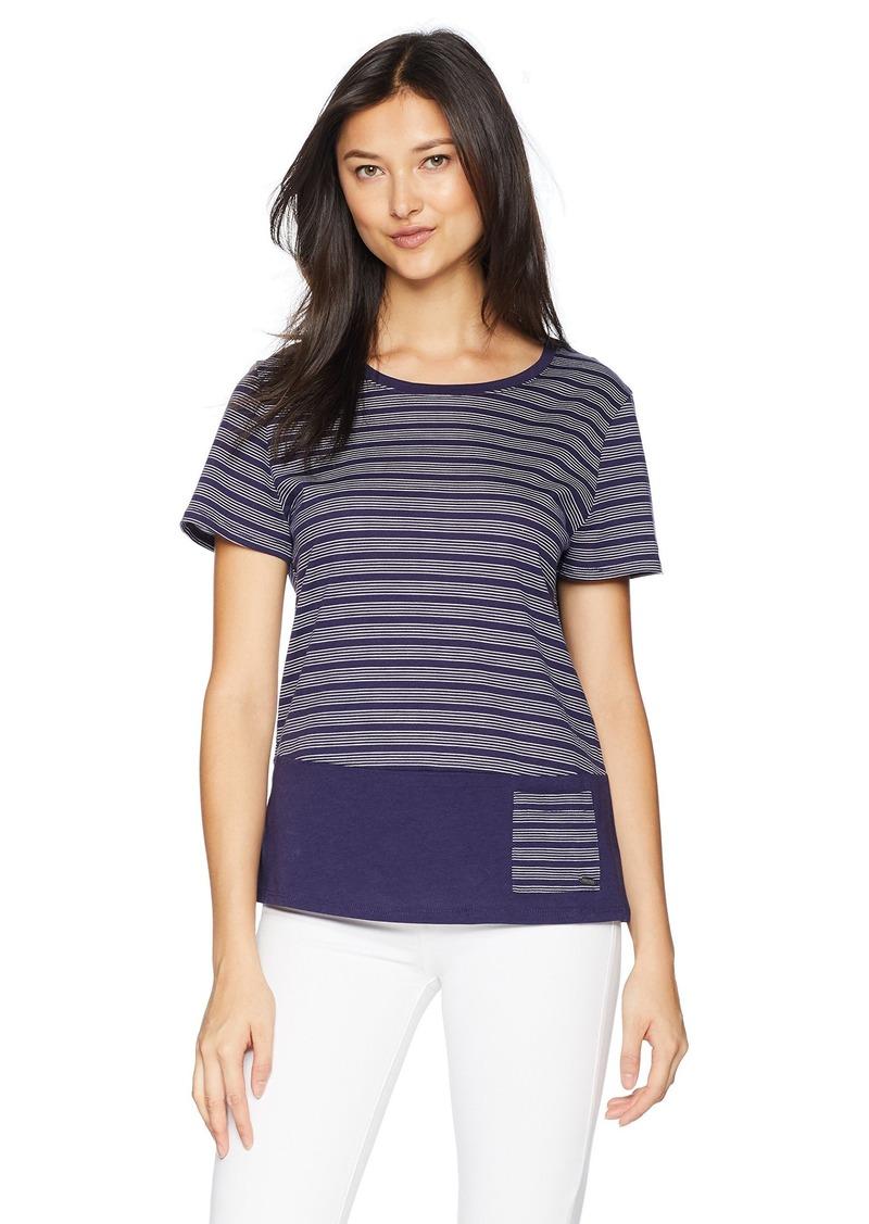 Nautica Women's Striped Tee Top Navy L