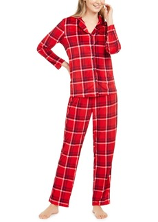 Nautica Women's Velour Notch-Collar Plaid Pajama Set, Online Only