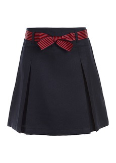 Nautica Pleated Uniform Skort & Striped Bow Belt (Big Girls)