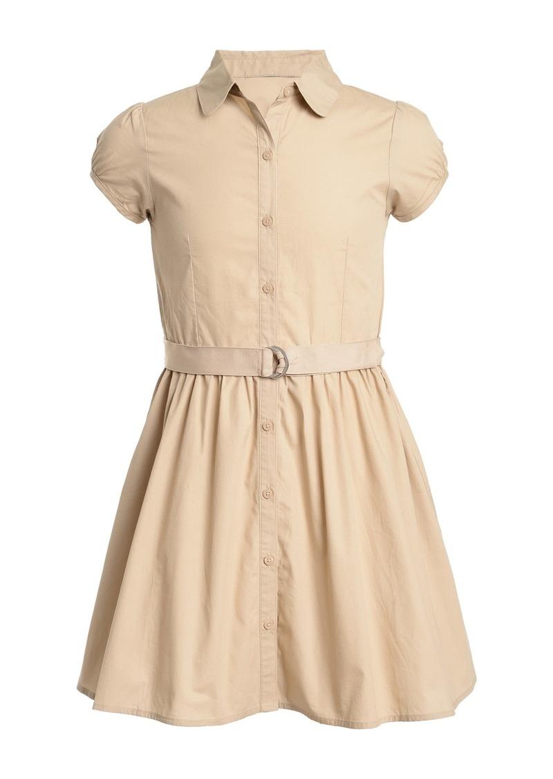 Nautica Short Sleeve Belted Uniform Shirtdress (Big Girls)