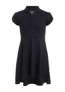 Nautica Short Sleeve Interlock High/Low Uniform Dress (Big Girls)