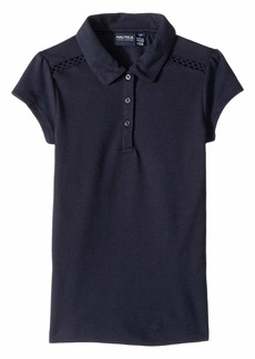 Nautica Short Sleeve Lace Trim Polo (Big Kids)
