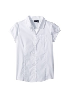 Nautica Short Sleeve Woven Top with Lace (Big Kids)