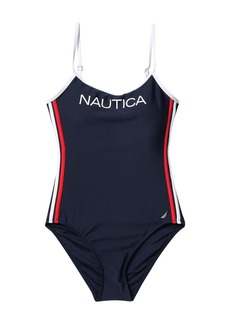 Nautica Side Stripe One-Piece Swimsuit