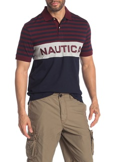 Nautica Stripe & Colorblock Logo Polo
