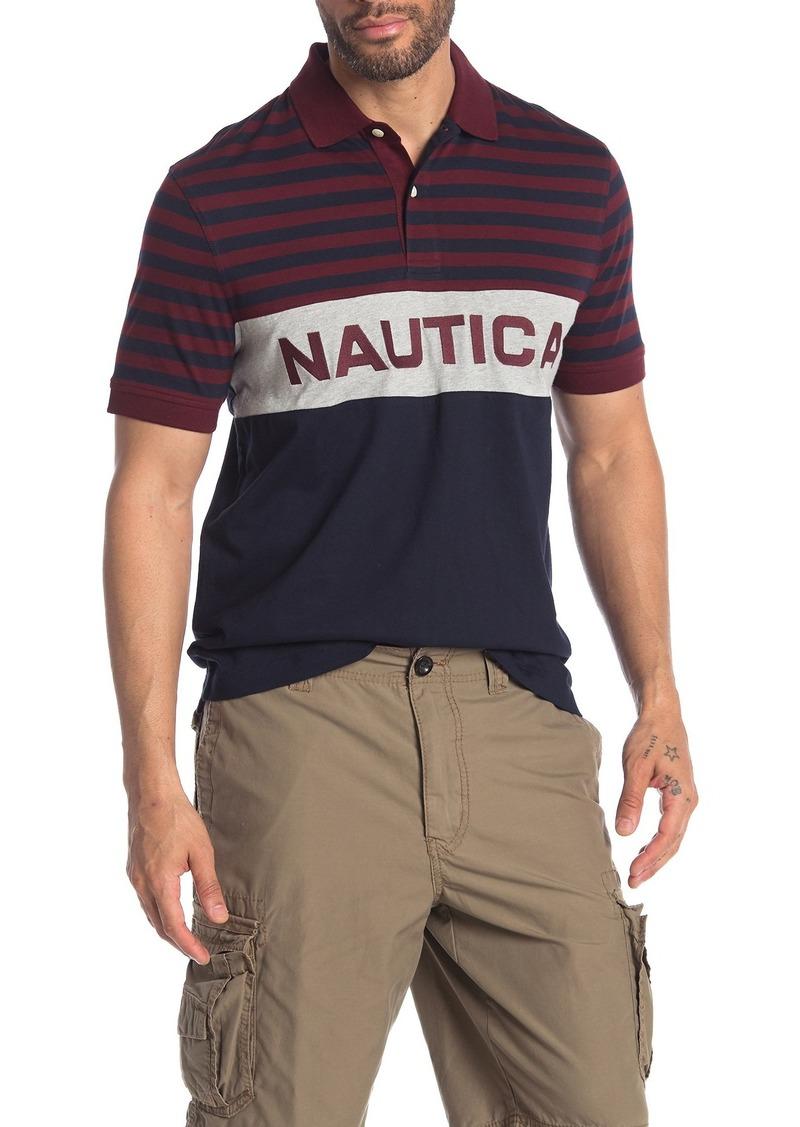 Nautica Stripe & Colorblock Logo Polo