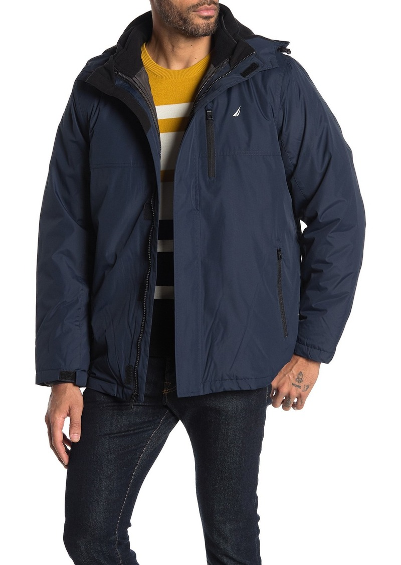Nautica Water-Resistant 3-In-1 Hooded Shell & Quilted Liner Jacket