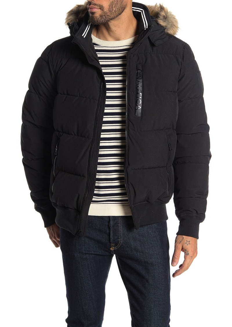 Nautica Water-Resistant Faux Fur Trim Hooded Puffer Jacket