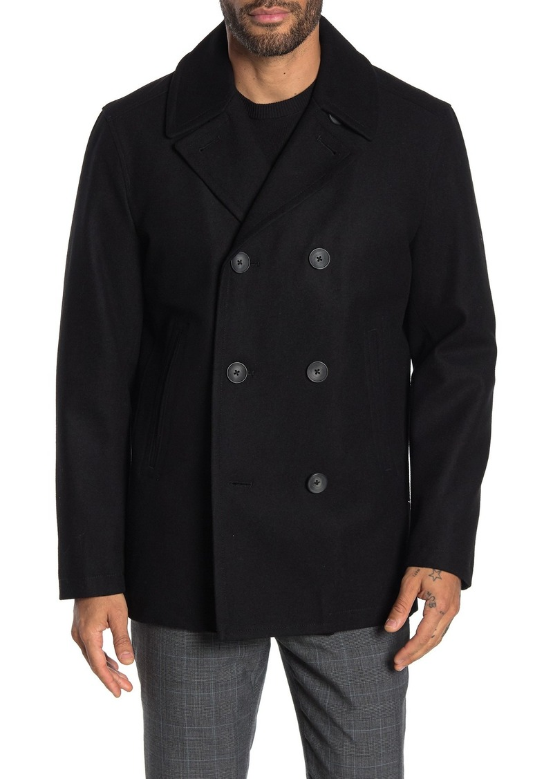 Nautica Water-Resistant Wool Blend Quilted Peacoat