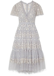 Needle & Thread Angelica Tiered Embroidered Tulle Midi Dress