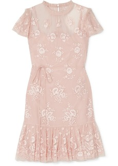 Needle & Thread Ashley Embroidered Tulle Mini Dress