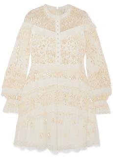 Needle & Thread Ava Lace-trimmed Embellished Tulle Mini Dress