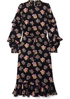 Needle & Thread Bessie Ruffled Floral-print Satin Midi Dress