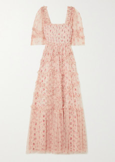 Needle & Thread Bijou Ruffled Smocked Floral-print Tulle Gown