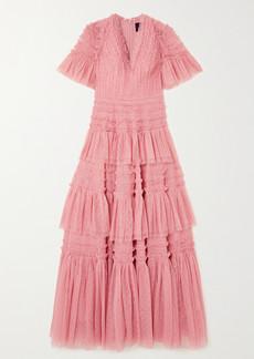 Needle & Thread Clarabelle Ruffled Tiered Point Desprit Gown