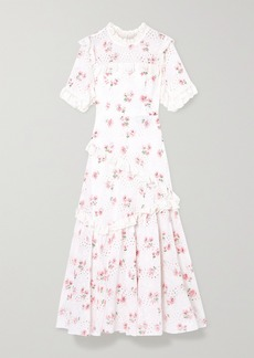 Needle & Thread Desert Rose Ruffled Floral-print Broderie Anglaise Cotton-blend Midi Dress