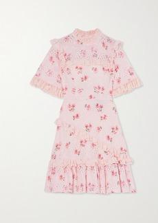 Needle & Thread Desert Rose Ruffled Floral-print Broderie Anglaise Cotton-blend Mini Dress